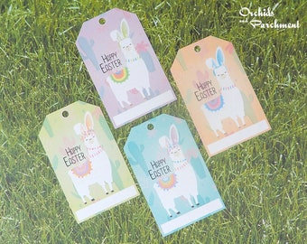 4481e9e8eb280d Tags - Easter - Gift Tags - Favor Tags - Treat Bag Tags - Easter Llamas -  Editable or Print Only - Printable - Instant Download PDF