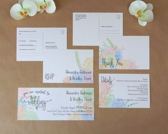 Whimsy Succulents 4 PC Editable Wedding Invitation Set
