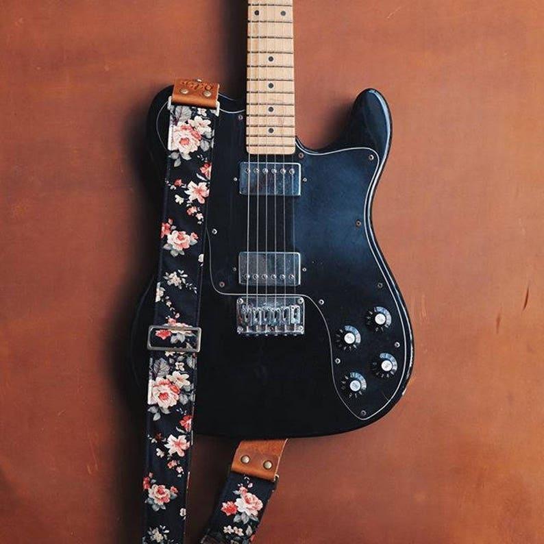 Black Fabric Flower Guitar Strap image 0