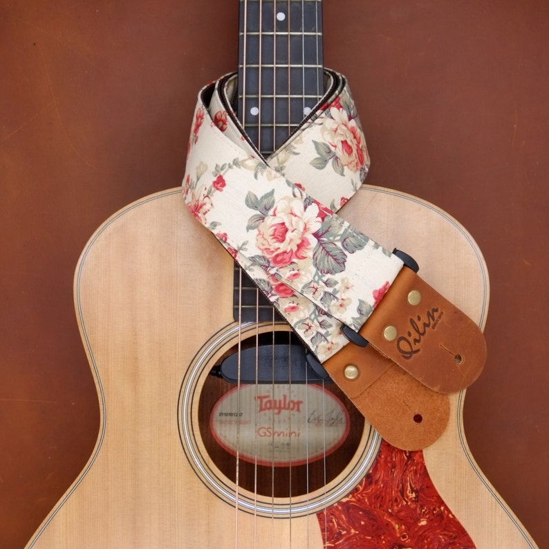 Cream Fabric Flower o Guitar Strap image 0