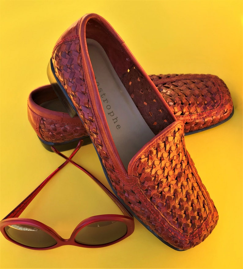 5c60d6262f460 APOSTROPHE Shoes Russet/Red Woven Leather Loafers Size 6M Made in Brazil