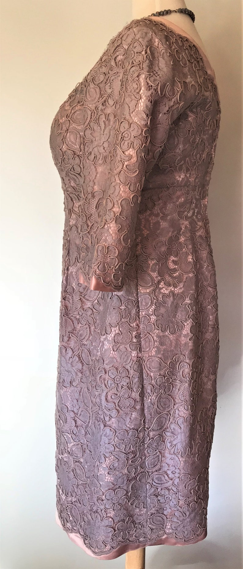 1950/'s Vintage Classic Formal Retro Wiggle Dress Custom-Made in Mushroom Pink Corded Lace over Satin with 34 Sleeves
