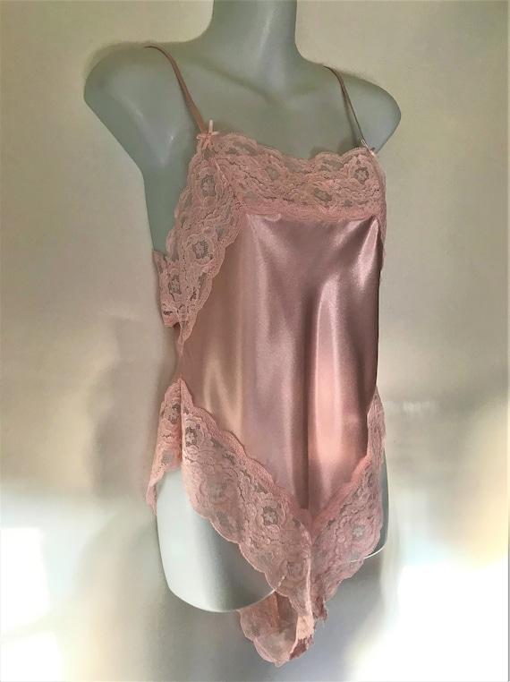 1980/'s VINTAGE  Highcut Teddy Pale Pink Satin /& Lace BERLEI Size 12-14 Silky Bodysuit Babydoll Lingerie Aus