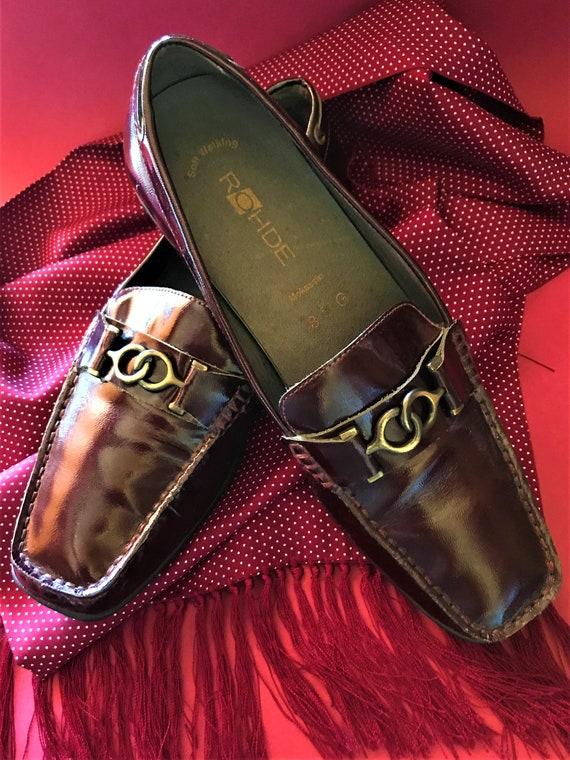 33f035c84b2d1 Vintage ROHDE Men's Claret Burgundy Patent Leather Mocassins Loafers  Slip-ons Size 8G