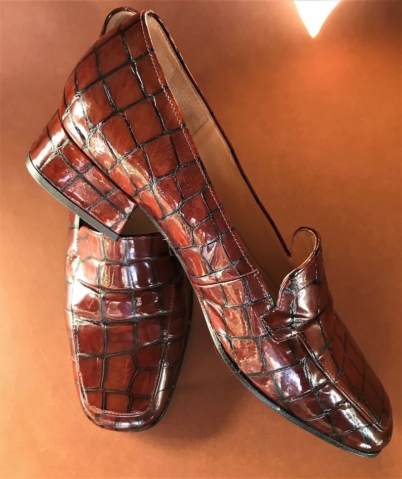 b7fb1abda3b70 GABOR INTERNATIONAL Vintage Women's Faux Croc Patent Leather Stately Loafer  Shoe Size UK 3.5 (eu 36 / au & us 5) Made in Austria