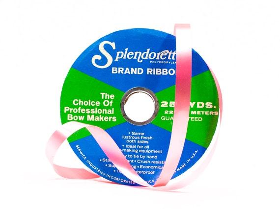 VINTAGE: 250 250 VINTAGE: verges bobine de ruban rose Splendorette - arc fabrication - artisanat - imperméable à l'eau - Made in USA - 0.75
