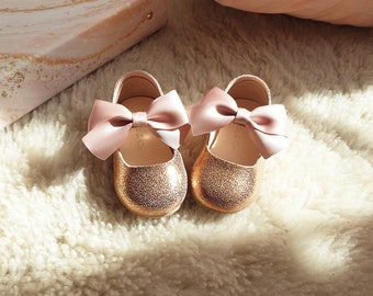 Flower Girl Shoes in Rose Gold Leather for ages 9M-2T, Baby Girl Moccasins for Weddings, Birthdays and Special Occasions, Toddler Shoes
