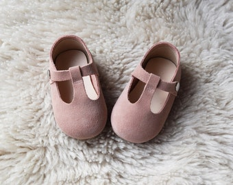 ee6dab886d630 Dusty Pink Leather Baby Shoes for Toddler Girls 9M-36M