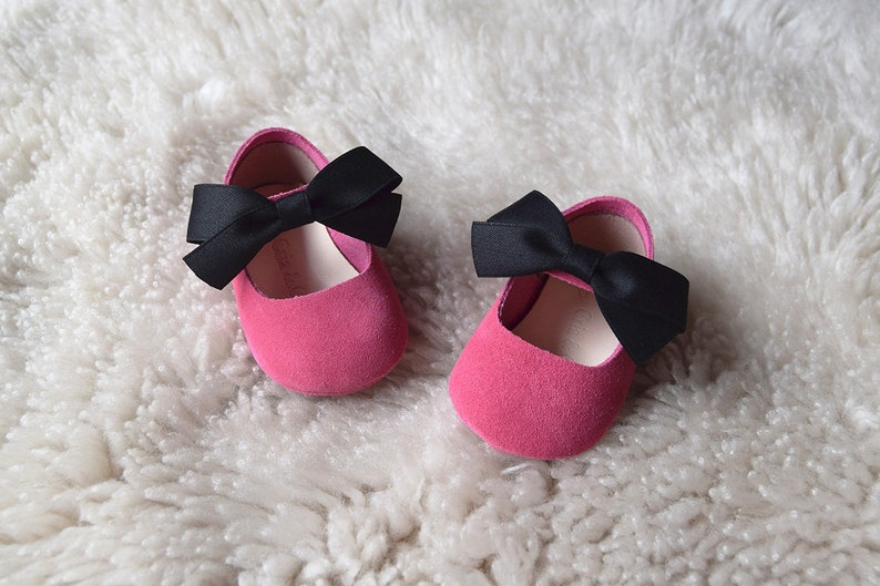 1a7a515389591 Hot Pink Baby Girl Shoes, Leather Baby Shoes with Bow, Baby Moccasins, Baby  Shower Gift, Flower Girl Shoes, Special Occassion Baby Shoes