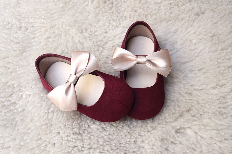 41f6bc0931a Burgundy Baby Girl Shoes Toddler Girl Shoes with Champagne