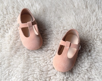 Nude Pink First Walking Shoes for Toddler Girls