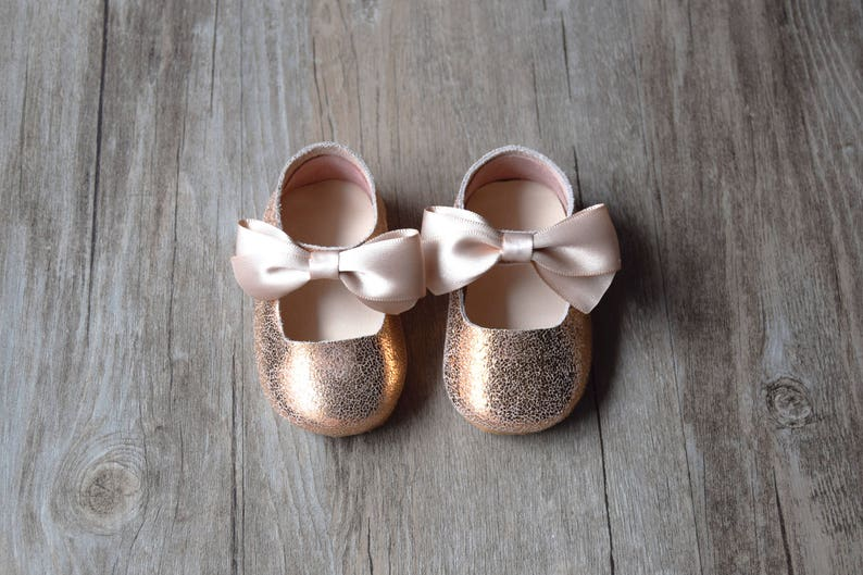 7d52657c9c37 NB to 36M Rose Gold Baby Girl Shoes Leather Toddler Shoes