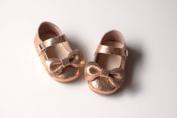 Rose Gold Baby Girl Shoes With Bow Leather Baby Moccasins