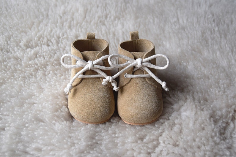 Leather Baby Shoes Baby Moccasins Sand Baby Lace Up Boots image 0