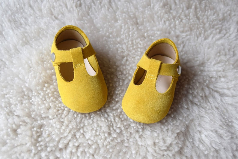 fbb071a145500 Mustard Baby Girl Shoes, Baby Moccasins, Yellow Leather Mary Jane T Strap,  Infant Booties, Baby Moccs, Newborn Crib Shoes, Baby Shower Gift