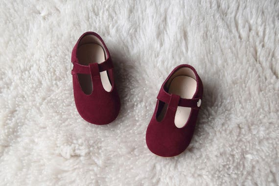 a7e3358a122c Burgundy Baby Girl Shoes Leather T Strap Mary Jane Toddler