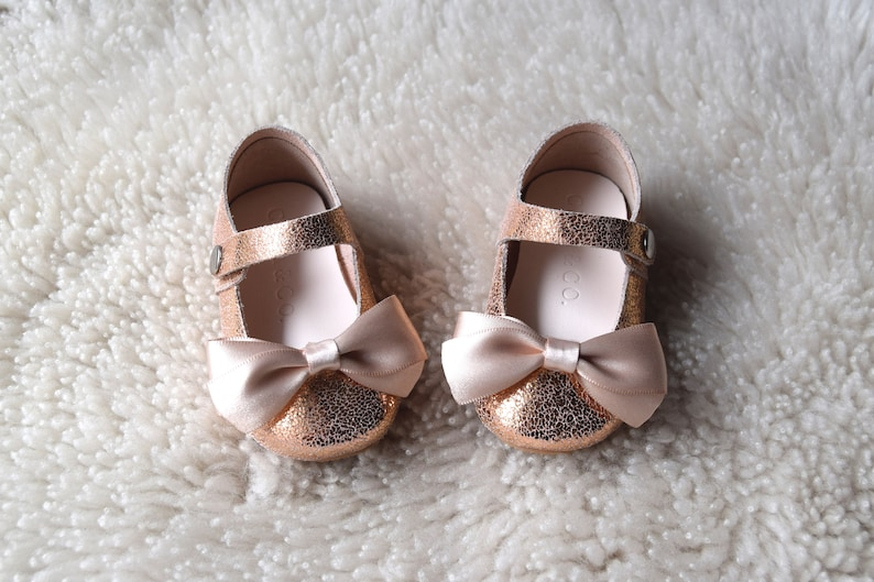 5c897845ee14 Baby Shoes Girl Rose Gold Toddler Girl Shoes with Champagne
