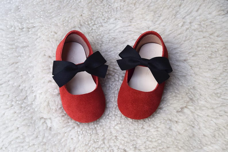 e75f26d170ec9 Red Toddler Girl Shoes Mary Jane Shoes with Black Bow