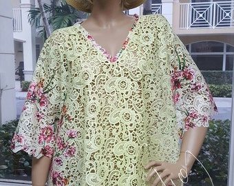 cc3e838207d7a Mini Dress Caftan Vintage Style Handmade Guipure Nigerian Lace, Wedding  Kaftan Beach Made in Miami DIY Wedding, Resort