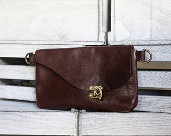 The NUMA fanny pack elegant versatile hip or shoulder bag in sienna brown veg tan leather & antiqued brass hardware fashion purse