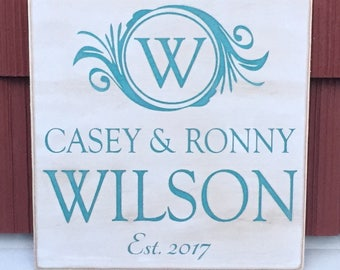 """Rustic Wood Sign - Family Name with Monogram and Established Year - 12"""" x 12"""""""