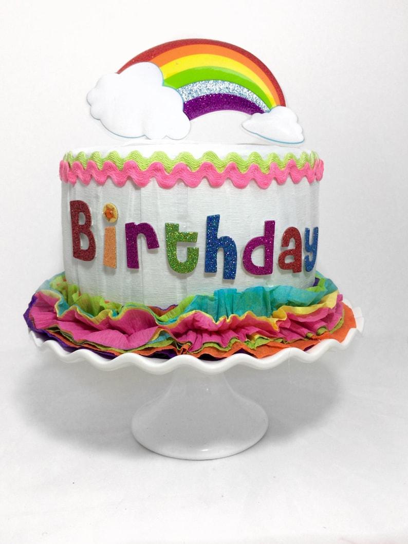 Rainbow Birthday Cake Rainbow Party Unicorn Party Etsy