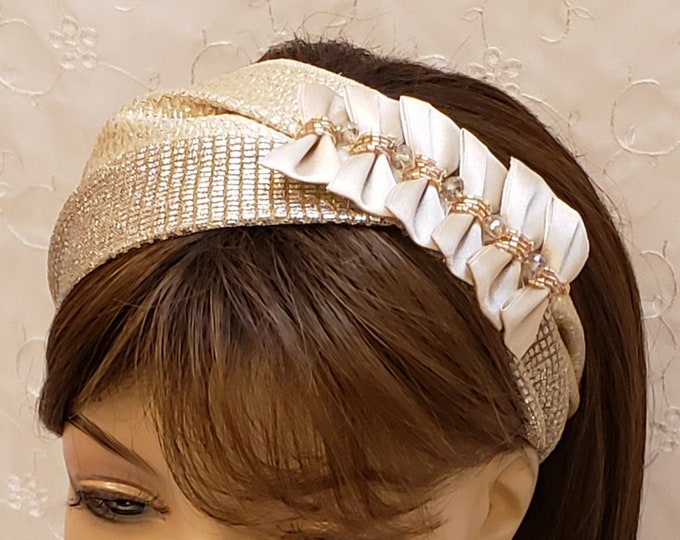 Featured listing image: Gorgeous fancy headband, wedding headband, accessories, hair accessories, head covering, gold hair covering, head wrap, gift, women, holiday