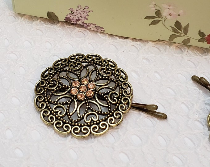 Featured listing image: Feminine floral tichel/hair pin with sparkling peach accents, decorative Bobby pin, accessories, head scarf pin, wedding hair pin, gift