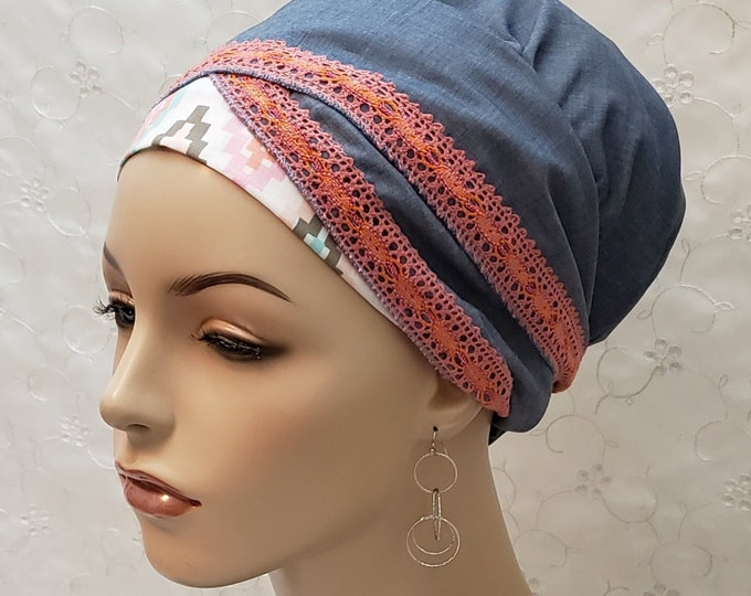 Featured listing image: Cool chambray southwest pattern cotton sinar tichel, head wrap, apron head scarf, apron tichel, Jewish hair covering, denim, blue, gift