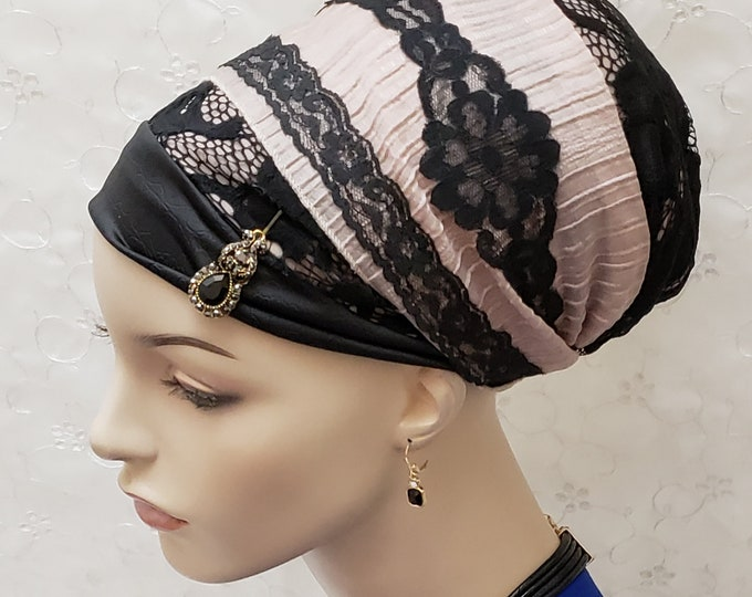 Featured listing image: Black rose sinar tichel with scarf bobby pin, head wrap, apron head scarf, apron tichel, Jewish hair covering, hair snood, accessories, gift