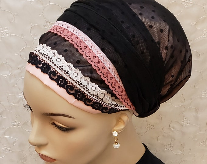 Featured listing image: Black and pinky peach cotton and lace sinar tichel, head wrap, apron head scarf, apron tichel, Jewish hair covering, hair accessories, gift