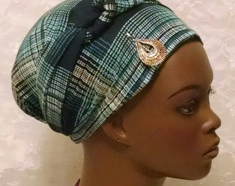 Green plaid knotted sinar tichel, head wrap, head scarf, hair snood, Jewish hair covering, gift, apron head scarf, bridal shower gift