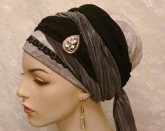 Luxurious wrap twice sinar tichel, head wrap, head scarf, apron tichel, Jewish hair covering, hair wrap, wedding, Shabbos, hair accessories