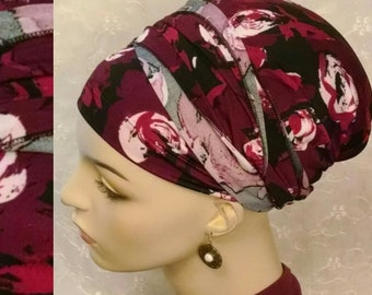 Winter berry sinar tichel, head wrap, hair snood, head scarf, Jewish hair covering, apron head scarf, alopecia, chemo scarves