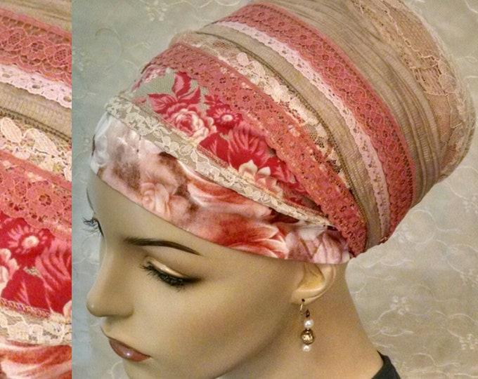 Featured listing image: Stunning pink floral sinar tichel, head wrap, hair scarf, head scarf, Jewish hair covering, Jewish head scarf, head covering, alopecia
