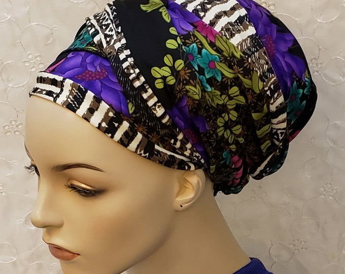 Featured listing image: Floral and African ethnic print sinar tichel, head wrap, apron head scarf, apron tichel, Jewish hair covering, hair snood, accessories, gift