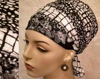 Fashionable everyday black and off white sinar tichel, head wrap, hair scarf, head scarf, hair covering, hair snood, apron head scarf
