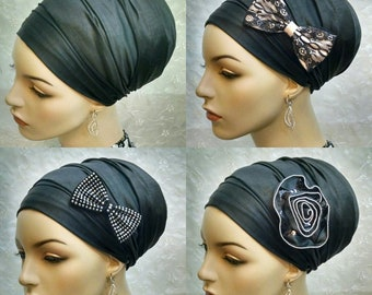 Solid black crocodile embossed thin leatherette with bow options, sinar tichel, head wrap, hair snood, head scarf, hair covering