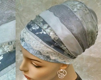 Gracious grey cotton and lace sinar tichel, Jewish hair covering, head scarf, hair snood, head wrap, hair scarf, alopecia, apron tichel