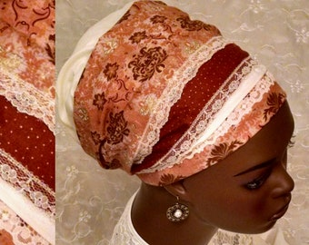 Oriental pattern cotton and lace sinar tichel, Jewish head scarf, hair snood, head wrap, hair scarf, head covering, alopecia, apron tichel