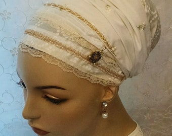Shabbos golden highlights sinar tichel, head scarf, head wrap, Jewish hair covering, hair snood, gift, white, apron tichels, religious gift