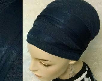 Dark Cobalt blue sinar tichel with dotted lace, tichels, head scarf, head wrap, hair snood, hair covering, Jewish, women, head covering