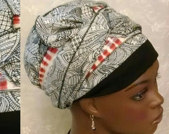 Chic black and red half bow sinar tichel, head scarf, hair covering, head wrap, Jewish head covering, apron head scarf, alopecia, chemo