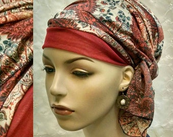 Fashionable wrap-twice sinar tichel, head scarf, hair snood, head wrap, Jewish hair covering, head covering, alopecia, chemo, tichels