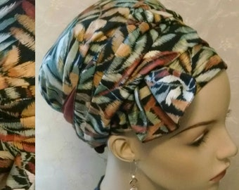 Stunning leaf motif soft cotton sinar tichel with half bow, head wrap, hair scarf, Jewish hair covering, head scarf, apron tichel, alopecia