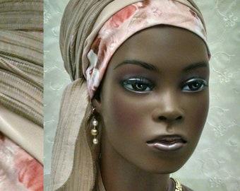 Feminine dressy champagne and pink sinar tichel, tichels, head wrap, hair scarf, head scarf, hair covering, head covering, wedding, snood