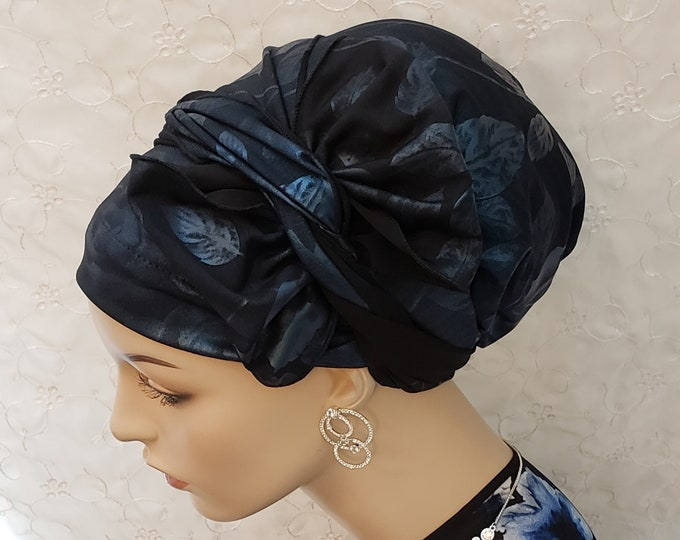 Featured listing image: Blue black floral leatherette bow style sinar tichel, head wrap, apron head scarf, apron tichel, Jewish hair covering, accessories, gift