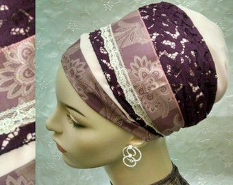 Elegant plum sinar tichel, head scarf, hair snood, hair scarf, Jewish hair covering, alopecia, weddings, tichels, head wrap, chemo