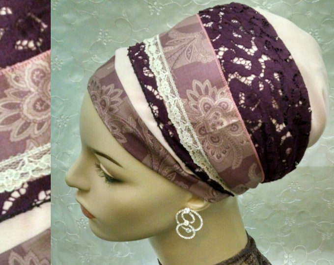 Featured listing image: Elegant plum sinar tichel, head scarf, hair snood, hair scarf, Jewish hair covering, alopecia, weddings, tichels, head wrap, chemo