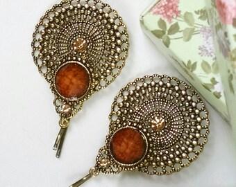 Stunning filligree tichel/hair pin, wedding hair pin, head scarf pin, decorative bobby pin, decorative hair pin, snood pin, beret pin, gift
